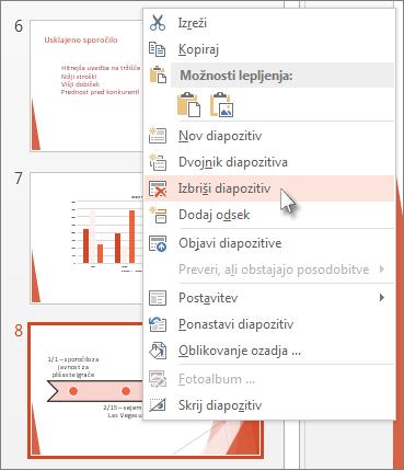 Z desno tipko miške kliknite sličico diapozitiva v PowerPointu in nato kliknite »Izbriši diapozitiv«.