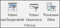 Možnost »Vstavi razčlenjevalnik« iz orodja za vrtilne tabele > Analiziraj > Filter