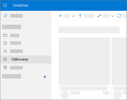 Posnetek zaslona pogleda »Odkrivanje« v storitvi OneDrive za podjetja