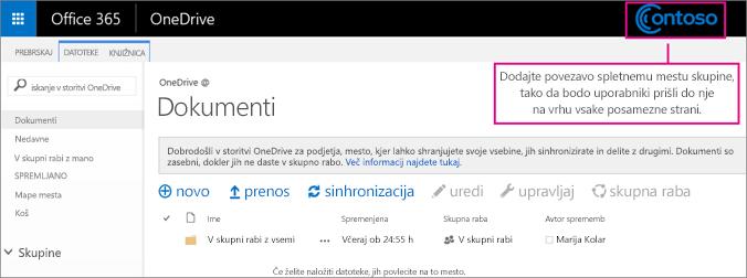 Dodajte povezavo do spletnega mesta skupine na vrh vsake strani, da bodo lahko uporabniki preprosto dostopali do njega