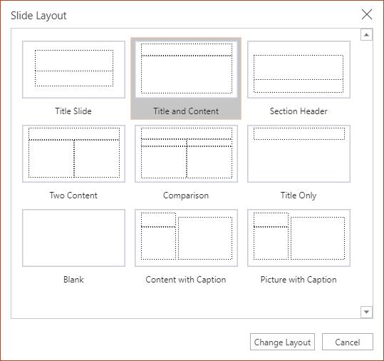 Pogovorno okno »Postavitev diapozitiva« v PowerPointu za splet.
