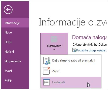 Nadgradite lahko na najnovejšo različico OneNota neposredno v meniju »Datoteka«.