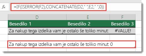 Uporaba funkcij IF in ISERROR kot nadomestna rešitev za združevanje niza z napako #VALUE!