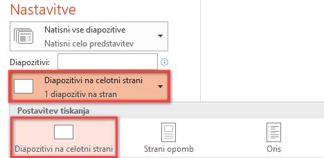 V podoknu »Natisni« kliknite »Diapozitivi na celotni strani«, nato pa na seznamu »Postavitev tiskanja« izberite »Celostranski diapozitivi«.