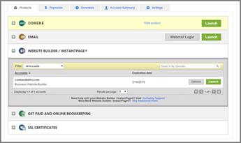 Zavihek »Website Builder InstantPage« (Graditelj spletnega mesta/takojšnja stran) v ponudniku domen GoDaddy