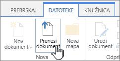 Gumb »Prenos dokumenta« na traku