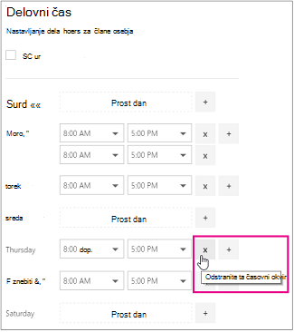 Panel delovne ure z označenim X