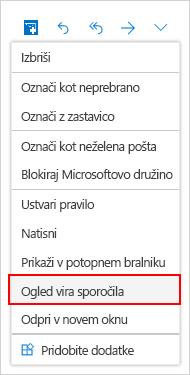 Okno za izbiranje sporočilo vira