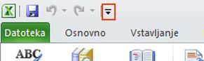 Ukaz »Izgovori« v orodni vrstici za hitri dostop v Excelu