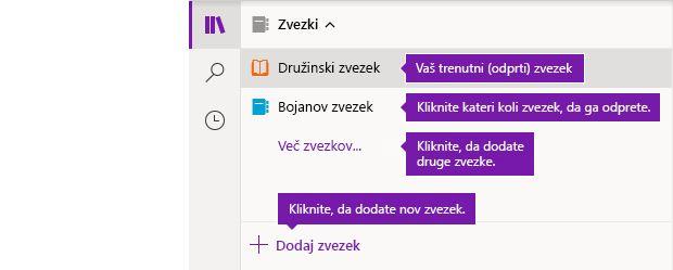 Seznam zvezkov v OneNotu za Windows 10
