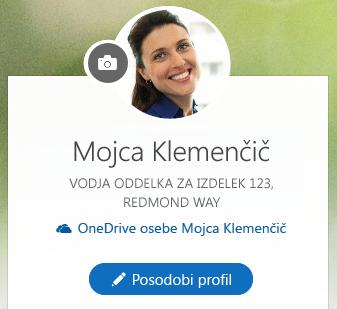 Kliknite »Posodobi profil«, da spremenite svoje podatke