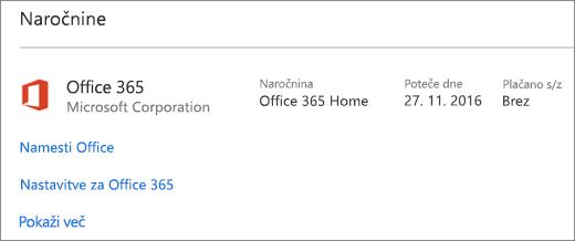 Če je bila preskusna različica sistema Office 365 nameščena v vašem novem računalniku, bo ta potekla s prikazanim datumom