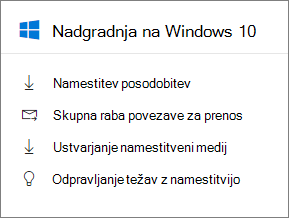 Windows 10 nadgradnja kartico v skrbniškem središču.