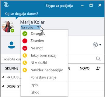 Posnetek zaslona okna Skypa za podjetja z odprtim menijem »Stanje«.