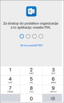 V napravi s sistemom iOS vnesite kodo PIN za dostop do Officeovih aplikacij.