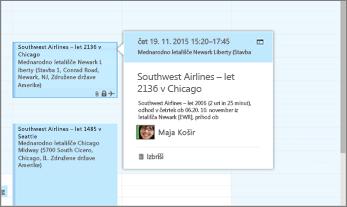 Posnetek zaslona Outlooka, ki prikazuje informacije o letu.