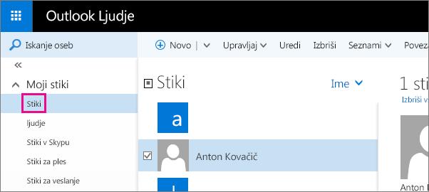 Posnetek zaslona strani »Ljudje« v Outlooku. V levem podoknu je razširjen razdelek »Moji stiki«, pod njem pa je prikazana mapa »Stiki«.