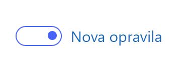 Posnetek zaslona prikazuje nov preklopni gumb »Opravila«, ki je vklopljen