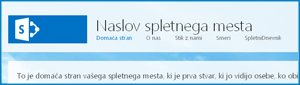 Posnetek zaslona privzete domače strani javnega spletnega mesta v SharePoint Onlineu