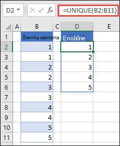 Primer uporabe = UNIQUE (B2: B11) za vrnitev Enolični seznam števil