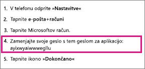 Zabeležite geslo programa v 4. koraku