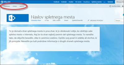Privzeta postavitev strani za javno spletno mesto Office 365