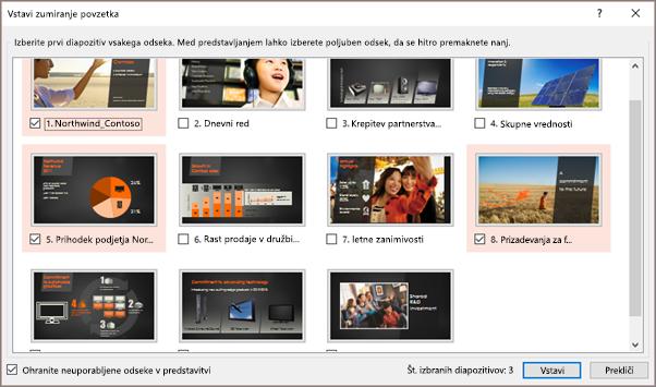 Prikazuje pogovorno okno »Vstavljanje zumiranja povzetka« v PowerPointu z izbranimi odseki.