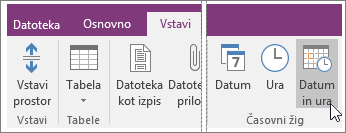 Posnetek zaslona gumba »Datum in ura« v programu OneNote 2016.