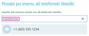 Klicanje telefonske številke v aplikaciji Skype za podjetja