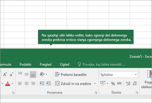 Zgornji del delovnega lista prekriva zavihke drugega delovnega lista