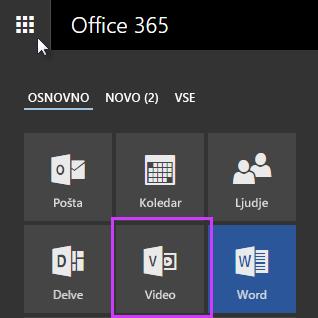 Ikona» Office 365 video «v Zaganjalniku programov