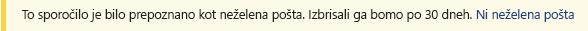 Posnetek zaslona vrstici rumenimi varnosti v Outlookovem sporočilu.
