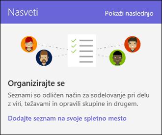 Nasveti o uporabi spletnega mesta v storitvi SharePoint Online