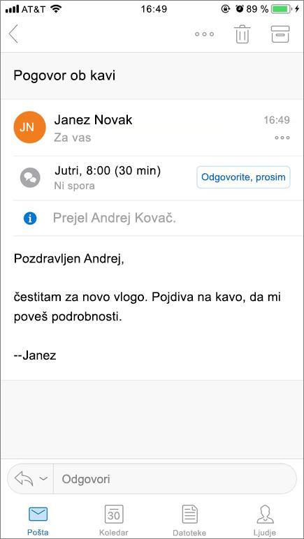 Na posnetku zaslona je prikazan zaslon prenosne naprave s poštnim elementom.