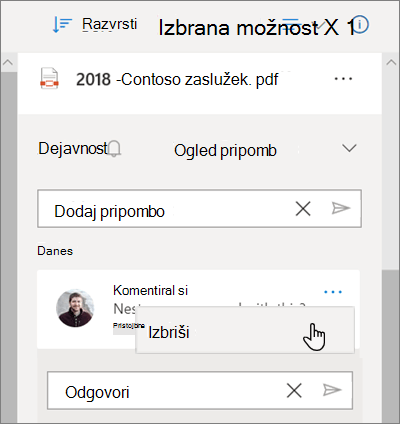 Podokno s podrobnostmi OneDrive prikazuje pripombe, ki so na voljo v datoteki v skupni rabi in izbrana možnost» Izbriši «za pripombo