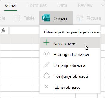 Vstavljanje možnosti» nov obrazec «v Excelu za splet