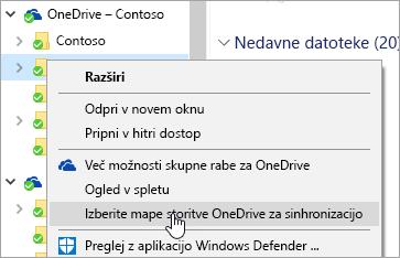 Posnetek zaslona priročnega menija v Raziskovalcu z izbrano možnostjo »Izberite mape v storitvi OneDrive, ki jih želite sinhronizirati«.