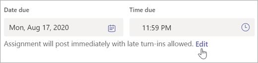 Izberite Uredi, če želite urediti časovnico dodelitve.