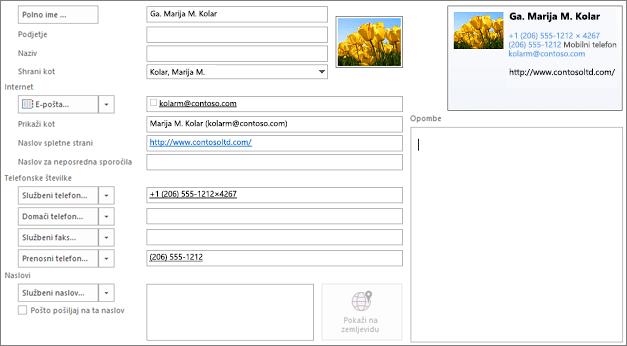 Delno izpolnjena Outlookova kartica stika