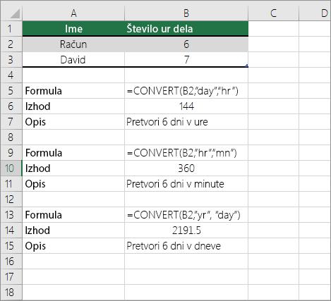 Primer: Pretvarjanje med časovnimi enotami