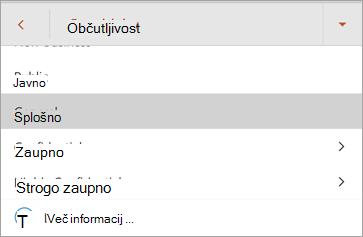 Posnetek zaslona z oznakami občutljivosti v sistemu Office za Android