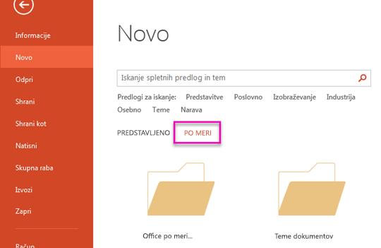 Datoteka novo stran, izberite po meri za dostop do predloge, ki ste jo ustvarili.