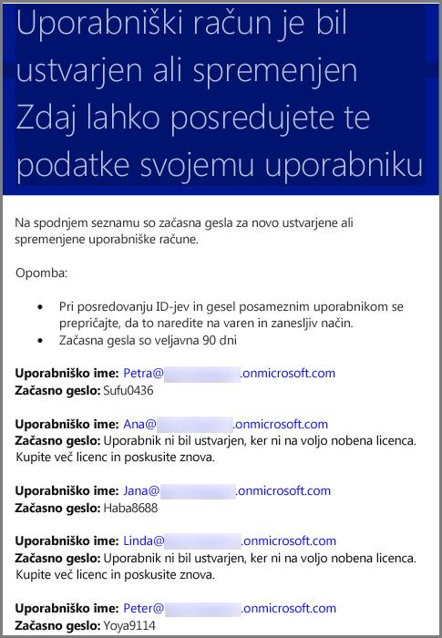 Vzorčna e-pošta s podatki o uporabniških poverilnicah