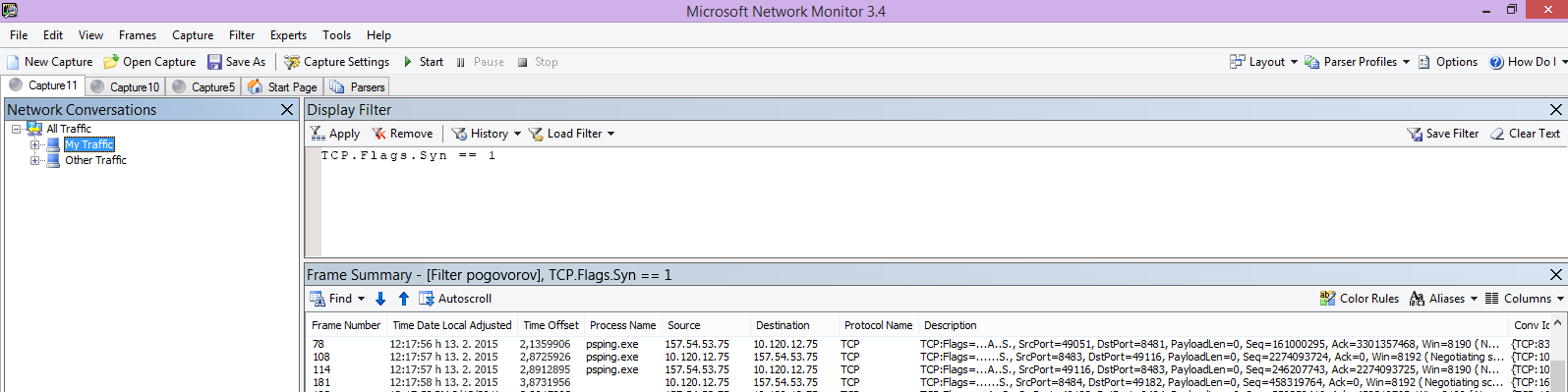 Sledenje Netmon odjemalca, ki prikazuje isti ukaz »PSPing« s filtrom TCP.Flags.Syn == 1.