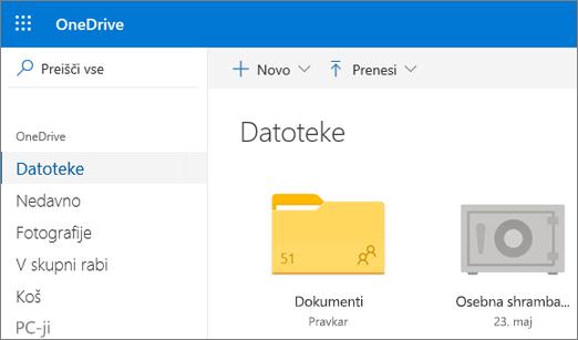 Posnetek zaslona osebne shrambe poverilnic, ki je prikazana v pogledu datoteke v storitvi OneDrive v spletu