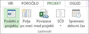 Slika gumba »Podatki o projektu«.