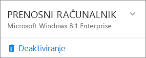 Posnetek zaslona, na katerem je prikazana možnost »Dezaktiviraj« za namestitev storitve Office 365 za podjetja