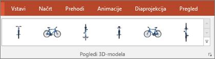 V galeriji s pogledi 3D-modelov je na voljo nekaj priročnih prednastavitev za urejanje pogleda 3D-slike