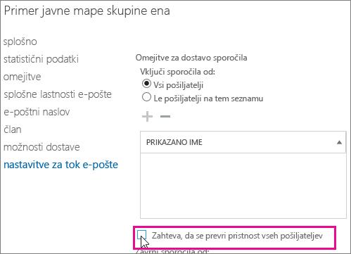 Omejitve dostave v javno mapo kot pomoč pri odpravljanju težav DSN 5.7.135