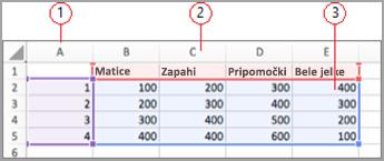 Podatkovna polja v Excelu